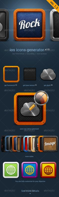 iOS Icon Generator V.1.3  #GraphicRiver         Generator icons for IOS and Android applications. Easy Customization and editing. High quality and unique design for your applications. Unlimited opportunities for customizing.   In the generator includes: 14 kinds of frameworks 15 basic texture 9 styles of logo 30 vector glyphs   Also: 14 icons of social networks (1024×1024, 512×512, 144h144)   Additional generator high-resolution with shadow for print or web applications.     Created…