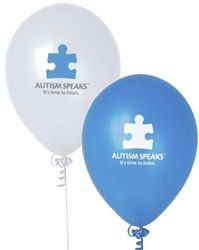 "9"" Latex Balloons Round  - 100pk w/ Autism Speaks Logo - See more at: http://shop.autismspeaks.org"