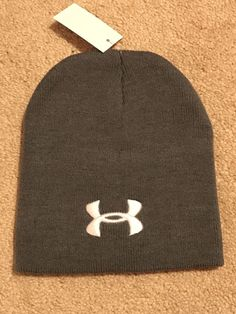 Mens UNDER ARMOUR Skull Beanie Knit Hat Gray New NWOT  fashion  clothing   shoes 086a629cf343