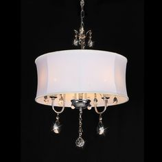 @Overstock - The Elegant Round Crystal Chandelier features a classic style with a modern twist. The chandelier features a lovely fabric shade surrounded by beautiful tear shaped crystals.http://www.overstock.com/Home-Garden/Elegant-Round-Crystal-Chandelier/6739547/product.html?CID=214117 $108.99