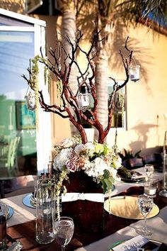 manzanita tree centerpieces