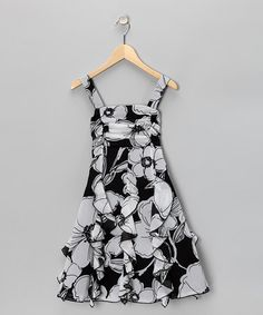 Black & White Floral Ruffle Dress - by Rare Editions on #zulily