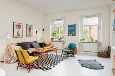 table basse scandinave, belle salle de séjour