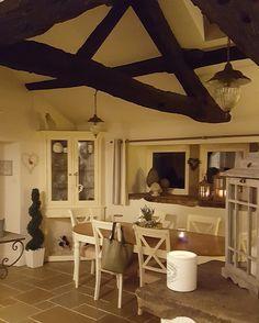 Country kitchen...original beams...limestone floor...