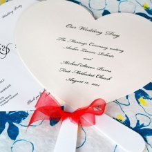 Heart Shaped Wedding Program Fans - these would be great in a sea shell shape too!!