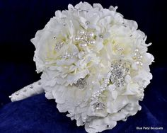 White Jeweled Bouquet - Blue Petyl