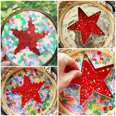 ~Shapes within Melted Bead Sun catchers. Use cookie cutter to arrange shape, remove before baking~ Easy Art For Kids, Summer Crafts For Kids, Crafts For Teens, Melted Bead Crafts, Pony Bead Crafts, Melted Pony Beads, Pony Bead Projects, Sun Catchers, Pierre Decorative