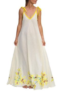 5aab8a79751 FANM MON Lakou Maxi Cream Yellow embroidered Linen Dress