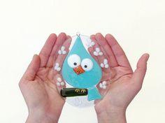 Mint Blue Bird Easter Egg Spring Nursery Decor Fused Glass Tile Wall Hanging Handmade