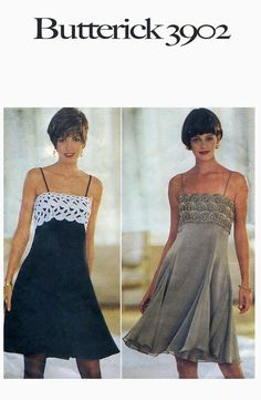 1990s Evening, Cocktail Bridesmaid Prom Dress/Gown Above Knee Empire Raised Waist, Flared Skirt- Butterick 3902 Bust 36-38-40 Sewing Pattern...