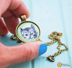 Cheshire cat necklace-Alice in Wonderland by naturapicta on Etsy