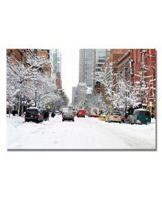 Ariane Moshayedi 'Nyc Snow Day' Canvas Art - x - Multi Artist Canvas, Canvas Art, Nyc Snow, Snowy Day, Mattress Brands, Surf Shop, Baby Clothes Shops, Kids Shop, Patio