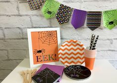"""Celebrate this Halloween with an EEK!! Spider Halloween party. Bright, bold, festive colors make this printable, fun and playful with cute spider napkins and dessert plate! Free Printable Download """"Ha"""