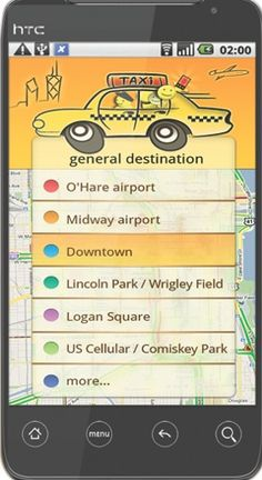 Taxi Share Chicago is an Android smart phone application designed to increase efficiency, reduce CO2 emississions and cut down on already congested streets and highways.  The app allows users to find each other and share a cab to popular destinations around the city and to the major aiports.  It is also designed to reduce incidents of drinking and driving by providing users a one-touch button to easily call a cab when they need one. Midway Airport, Open Data, Us Cellular, Application Design, Taxi, Drinking, Destinations, Chicago, Android