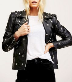 Understated Leather Star Studded Leather Jacket at Free People Clothing Boutique Studded Leather Jacket, Leather Jacket Outfits, Men's Leather, Free People Leather Jacket, Leather Coats, Vegan Leather Jacket, Custom Leather, Look Rock, Best Leather Jackets