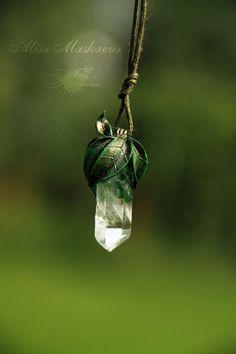 krinna-handmade:  Elven nature pendant. Polymer clay, quartz. Fully handmade. #PolymerClayJewelry
