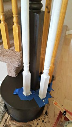 Gel stain and chalk paint to update an oak banister! I've got to do this!