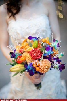 Orange blue bouquet wedding