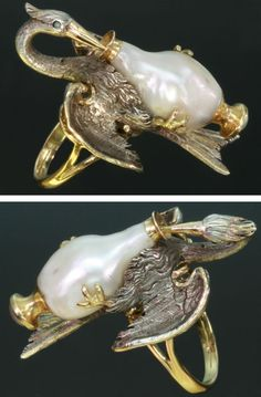 Just fabulous and fantastic. Now if only I had the odd $23,000 to spend!  French Antique Ring baroque pearl stork by adinantiquejewellery, $23400.00