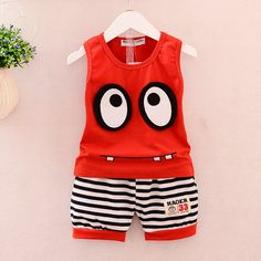 Baby Boy Summer Outfit Korean Cute Big Eyes Sleeveless Tops Vest + Striped Shorts Infant Clothing Kids Bebes Jogging Suits Source by clothes fashion boy Korean Summer Outfits, Boys Summer Outfits, Baby Boy Outfits, Kids Outfits, Summer Clothes, Baby Shop Online, Baby Suit, Costume, Outfit Sets