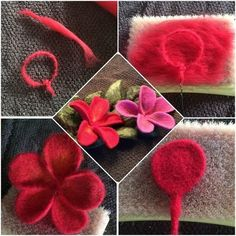 Felt Flowers, Fabric Flowers, Paper Flowers, Felt Diy, Felt Crafts, Needle Felting Tutorials, Felt Brooch, Flower Doodles, Felt Fabric