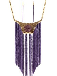Chain Tassels Fake Collar Necklace and Errings