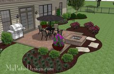 DIY Square Patio Design with Fire Pit | Download Plan – MyPatioDesign.com