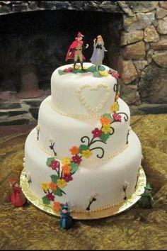 """""""Sleeping Beauty"""" themed wedding cake"""