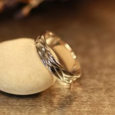 14k White Gold Wave Wedding Band Comfort Fit 5mm Unique Mens Wedding Ring Recycled Gold Ring (Other Metals & Ring Engraving Available)