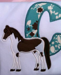 Horse applique available at Jellybeans Childrens Shop. Like us on Facebook