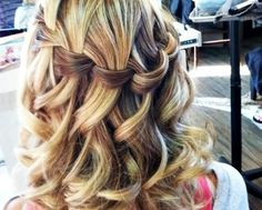Loose waterfall braid w/ curls