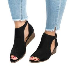 3ca03f6abae Women Plus Size Wedges Ankle Strap Peep Toe Wedge Sandals Dress And Heels
