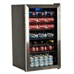 Cool all of your favorite drinks in this stainless-steel beverage cooler.This compact cooler features a high-power compressor and internal fan. Equipped with six slide-out shelves and a dual-panel glass door, this cooler is truly practical.