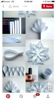 Image about diy in 🌻 Crafts 🌻 by 💜 Sweet Cabello 💜 Christmas Paper Crafts, Kids Christmas, Holiday Crafts, Christmas Decorations, Snowflake Template, Snow Flakes Diy, Paper Crafts Origami, Diy Snowflakes, Snowflake Craft