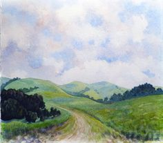 A watercolor landscape featuring the incredible rolling green hills of Briones Regional Park in Northern California on a bright sunny day with