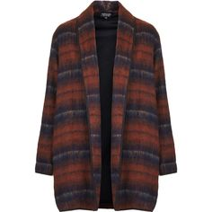 TOPSHOP Fluffy Striped Wool Duster Jacket (245 BRL) ❤ liked on Polyvore featuring outerwear, jackets, coats, orange, wool jacket, striped jacket, orange jacket, duster jacket and longline jacket