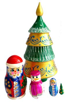 Artisanal, Jar, Christmas Ornaments, Holiday Decor, Home Decor, Matryoshka Doll, Snowman, Fir Tree, Noel