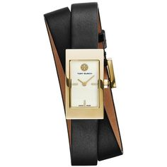 Tory Burch Buddy Signature Double-Wrap Watch, Black Leather/Gold-Tone,... ($395) ❤ liked on Polyvore featuring jewelry, watches, accessories, bracelets, leather watches, tory burch watches, tory burch jewelry, black jewelry and double wrap watches