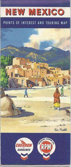 1960 New Mexico Road Map, Chevron, Taos Pueblo Cover