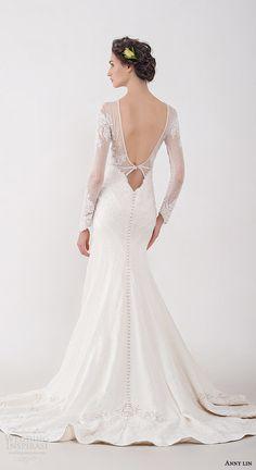 anny lin bridal 2016 shirine elegant illusion long sleeve wedding dress brocade skirt low neckline crystal beadwork plunging back view train