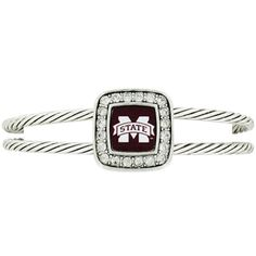 $5.50 Crystal Accented Square Mississippi State Cuff Bracelet