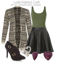 Cameo Rose aztec cardigan, $32 / BKE extra long tank top / Topshop faux leather skirt / Black faux leather boots, $37 / Purple earrings, $24 / Forever 21 silver heart ring