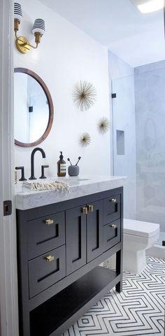 Patterned Tile Floor | Bathroom Design | Cement Tile Floor