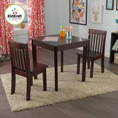 KidKraft Square Table and 2 Avalon Chairs Set, Espresso