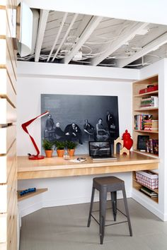 Love the wall art in this home office