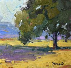 "Daily Paintworks - ""Oak Tree at the Farm"" - Original Fine Art for Sale - © Cathleen Rehfeld Bull Painting, Farm Art, Virtual Art, Landscape Artwork, Impressionist Paintings, Tree Art, Painting Inspiration, Oak Tree, Trees"