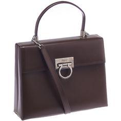 Pre-owned Salvatore Ferragamo Brown Leather Sophia Flap Shoulder Bag ($446) ❤ liked on Polyvore