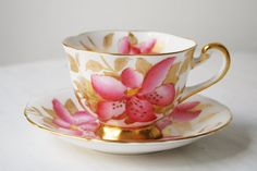Royal Chelsea Teacup and Saucer Pink Lily ~ Pretty!!