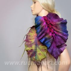 Felted scarf 3D ART wool nunofelting hand dyed Purple by RudmanArt, $149.00