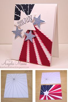 """By Angela Maine. Draw a template using a ruler. Make a photocopy. Determine which areas will be blue and which red. Cut to separate. Lay one piece on navy star patterned paper and the other on red patterned paper. Cut along lines. Attach to 5 1/2"""" x 4 1/4"""" white cardstock as shown. Add punched or die-cut stars, string, and sentiment. Pop up onto white card base."""
